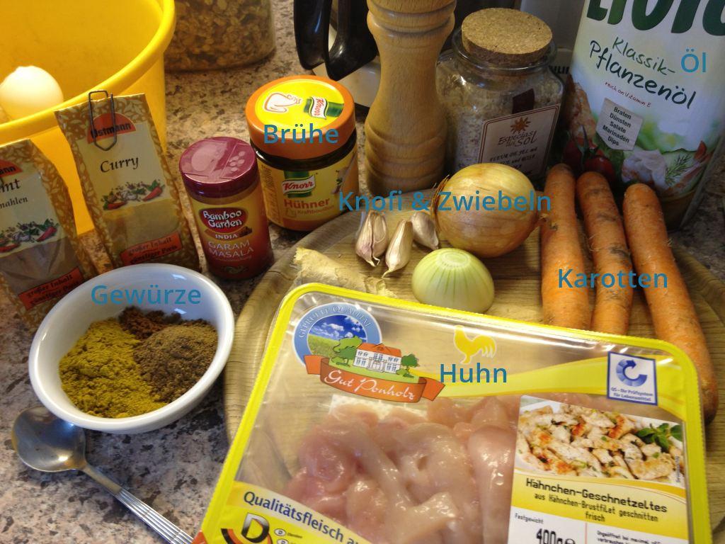 Zutaten für Chicken Korma